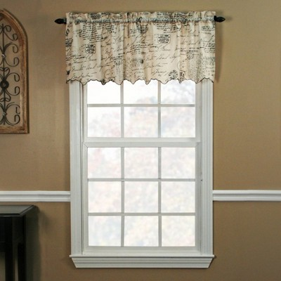 Ellis Curtain Script High Quality Room Darkening Solid Natural Classic Print Window Valance - 48 x 15, Black