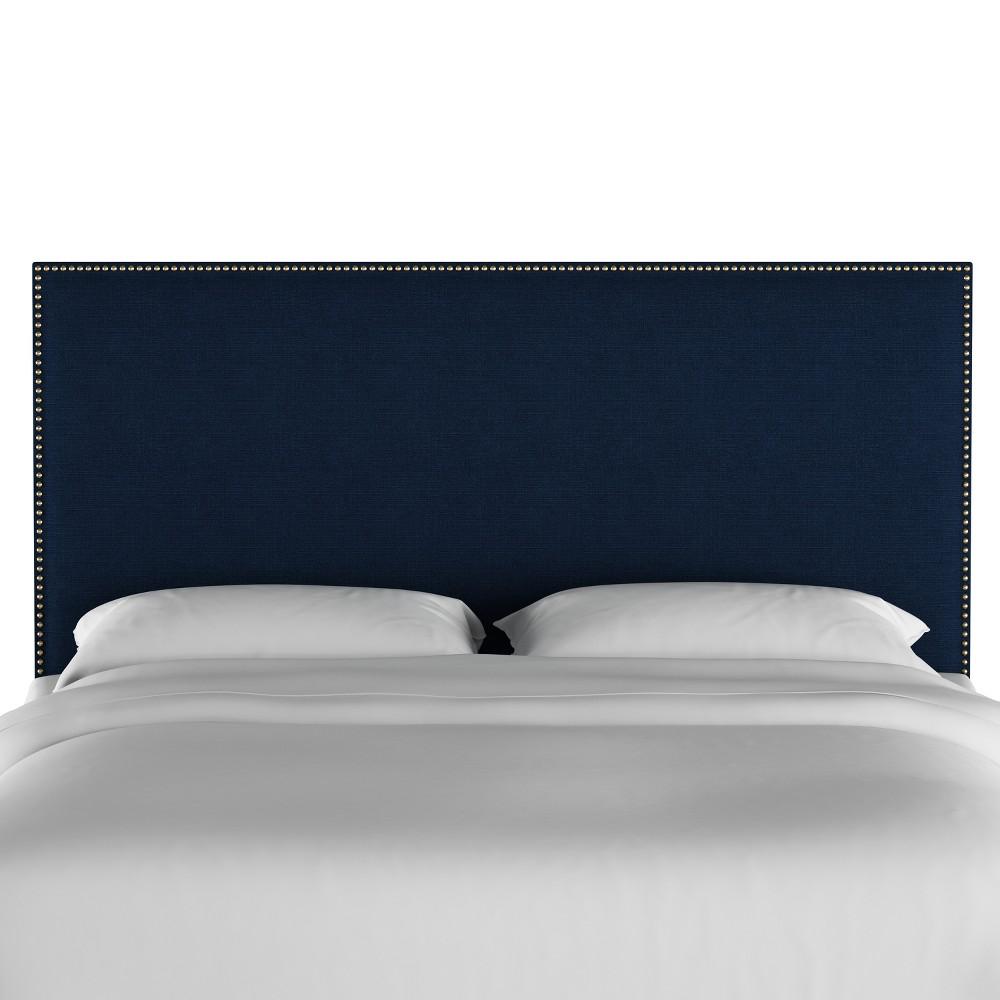 Queen Arcadia Nailbutton Headboard Linen Navy with Gold Nail Buttons - Skyline Furniture