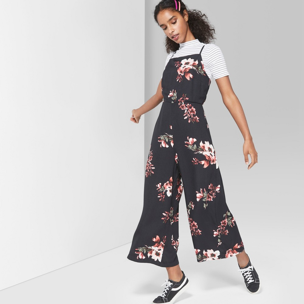 Women's Floral Print Strappy Square Neck Jumpsuit - Wild Fable Black XL