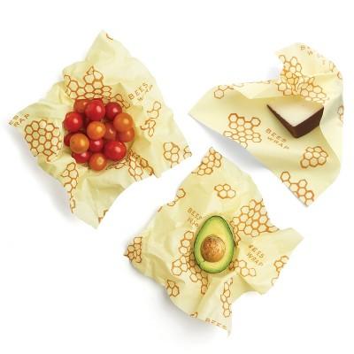 Bee's Wrap Medium 3pk Eco Friendly Reusable Food Wraps Sustainable Plastic Free Food Storage