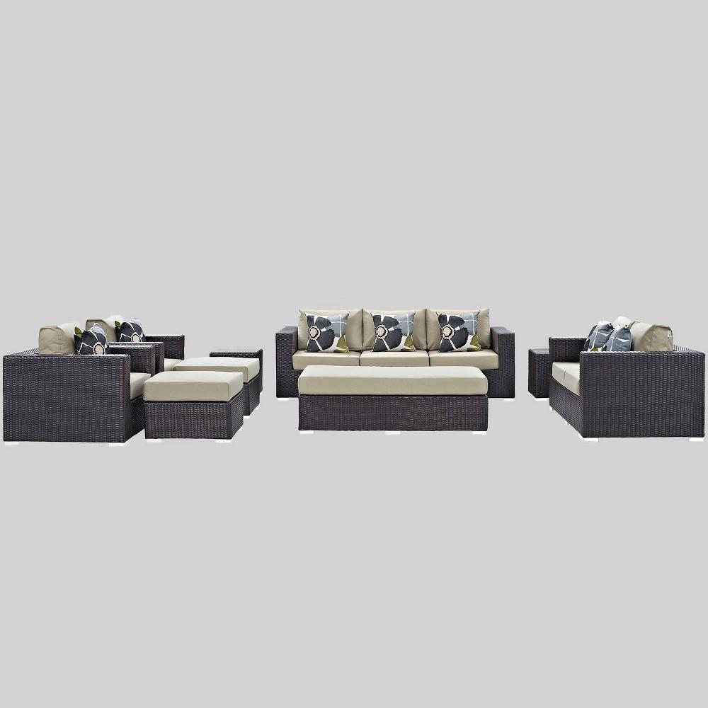 Convene 9pc Outdoor Patio Sofa Set - Beige - Modway