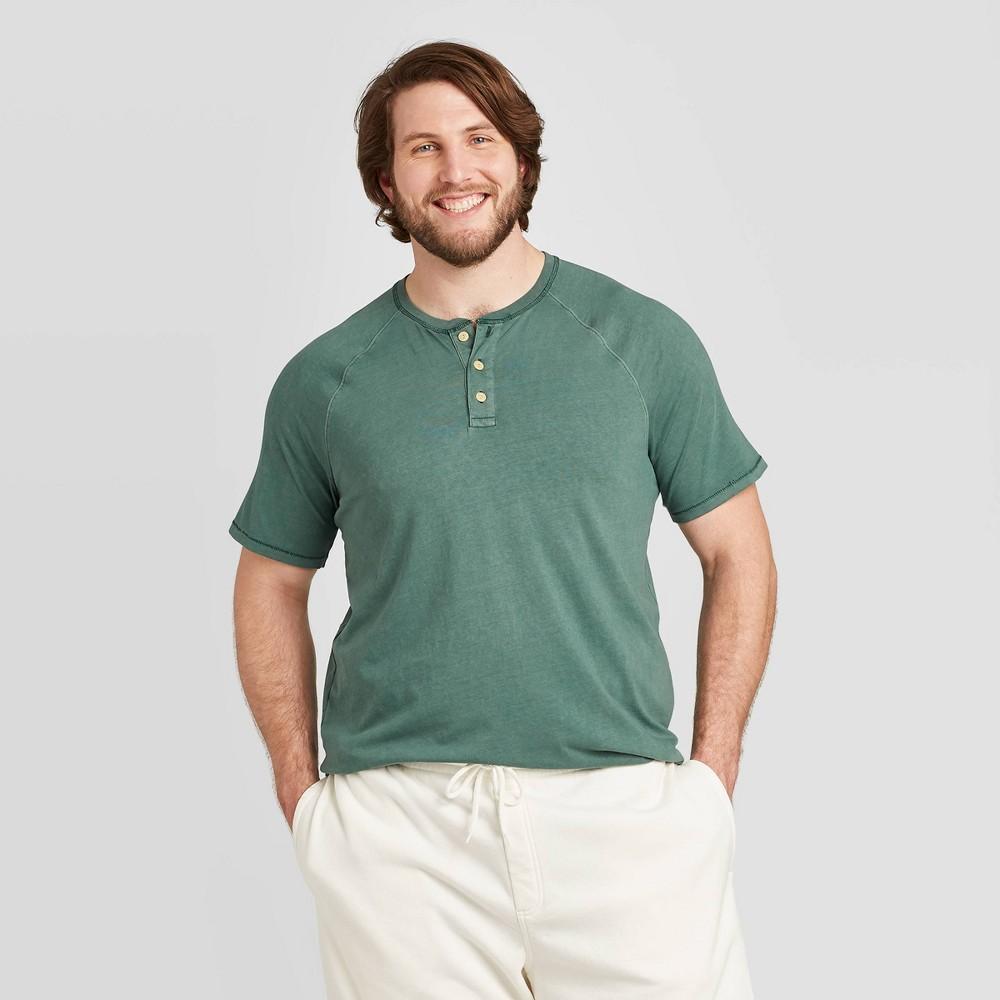 Image of Men's Big & Tall Standard Fit Short Sleeve Henley Shirt - Goodfellow & Co Dark Green 2XB, Men's