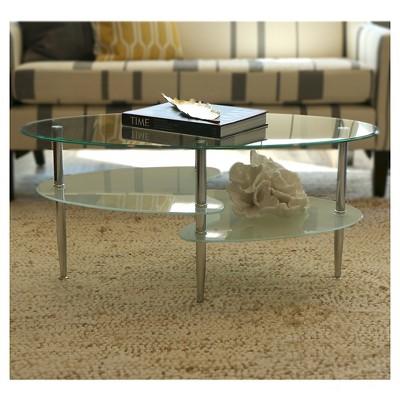 Glass Oval Living Room Metal Coffee Table - Saracina Home