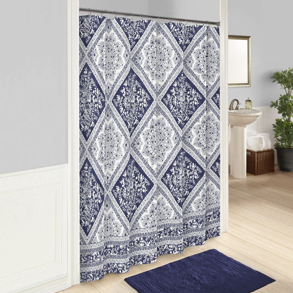 Image of Brielle Printed Shower Curtain Blue - Marble Hill