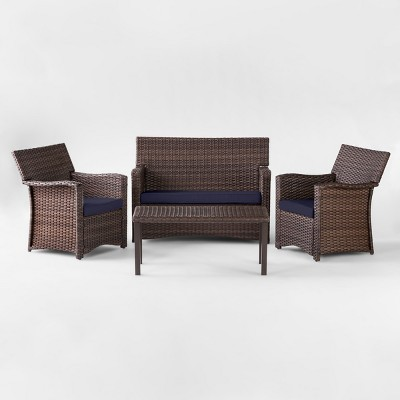 Halsted 4pc All Weather Wicker Patio Conversation Set - Navy - Threshold™