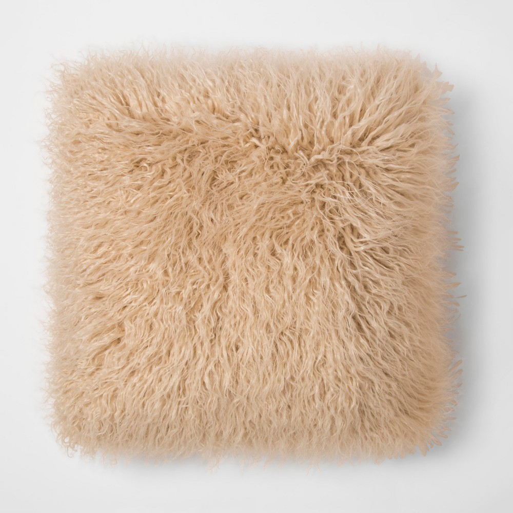 Brown Mongolian Faux Fur Throw Pillow - Project 62