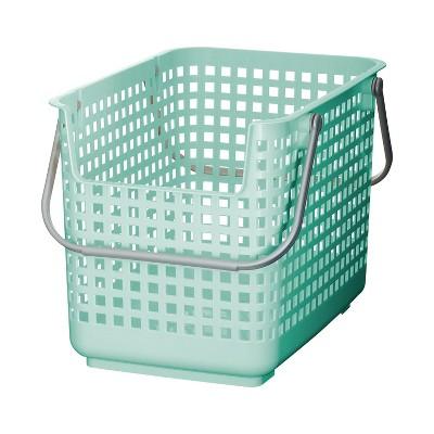 Like-it 13 x 19 x 24 Inch Large Midcentury Modern Scandinavian Style Square Durable Plastic Home Organizing Storage Basket, Mint Blue