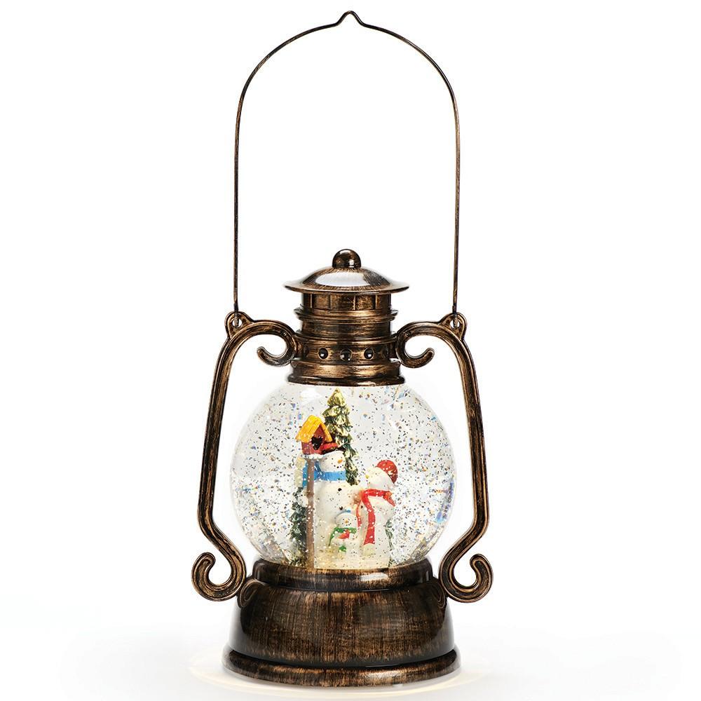 11 Lantern with Snowman Glitterdome Water Globe, Multi-Colored
