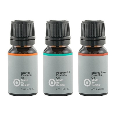 .33 fl oz 3pk Essential Oil Energizing Set Orange/Peppermint/Energy Blend - Made By Design™