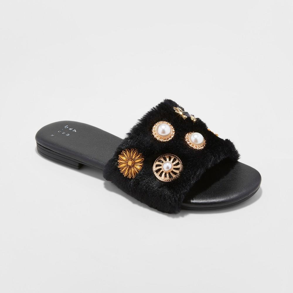 Women's Rose Brooch Faux Fur Slide Sandals - A New Day Black 6.5