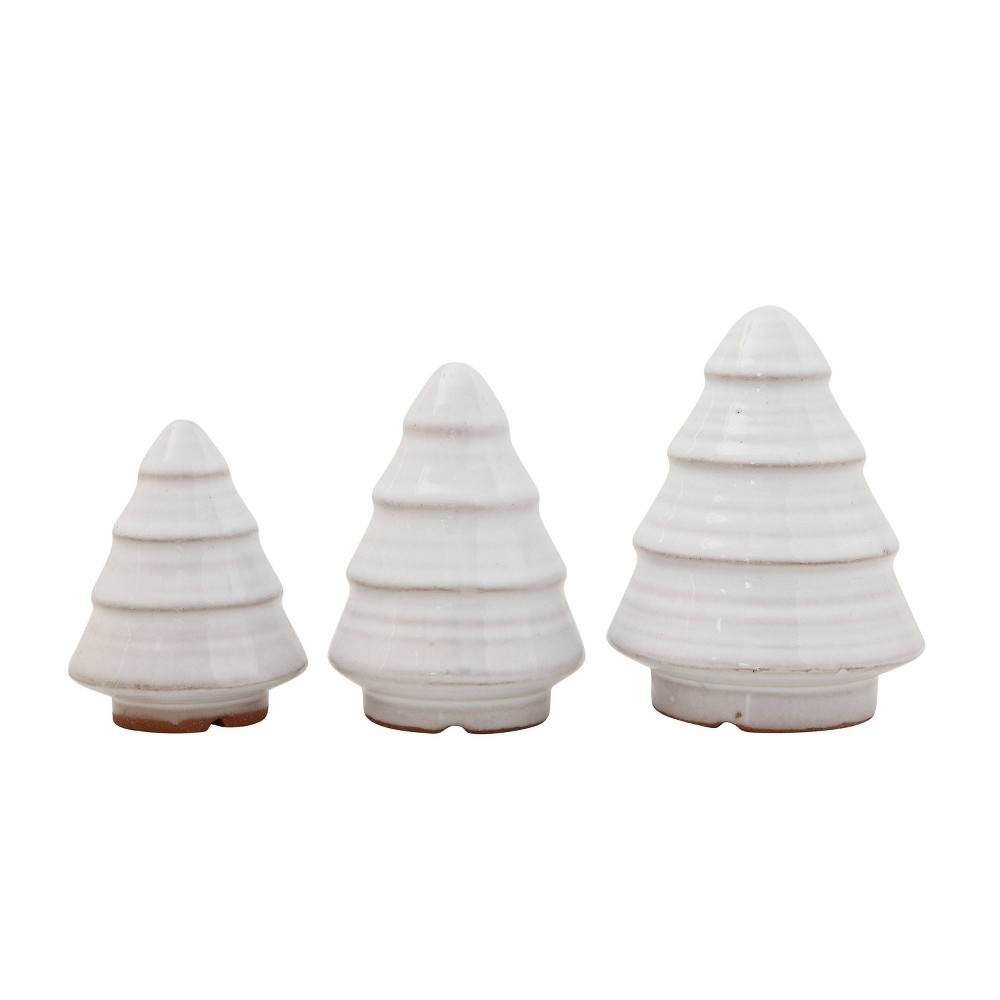 Image of 3pc Terracotta Trees Decorative Figurines White - 3R Studio