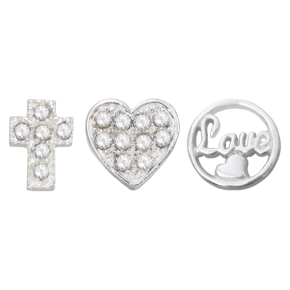 "Image of ""Treasure Lockets 3 Silver Plated Charm Set with """"Faith, Hope, Love"""" Theme - Silver, Women's"""