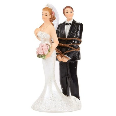 Juvale Bride Tied up Groom Figurines Wedding Cake Topper, Wedding Party Cake Decorations Gifts