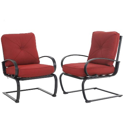 2pc Metal Patio Spring Chairs with Cushions - Red - Captiva Designs