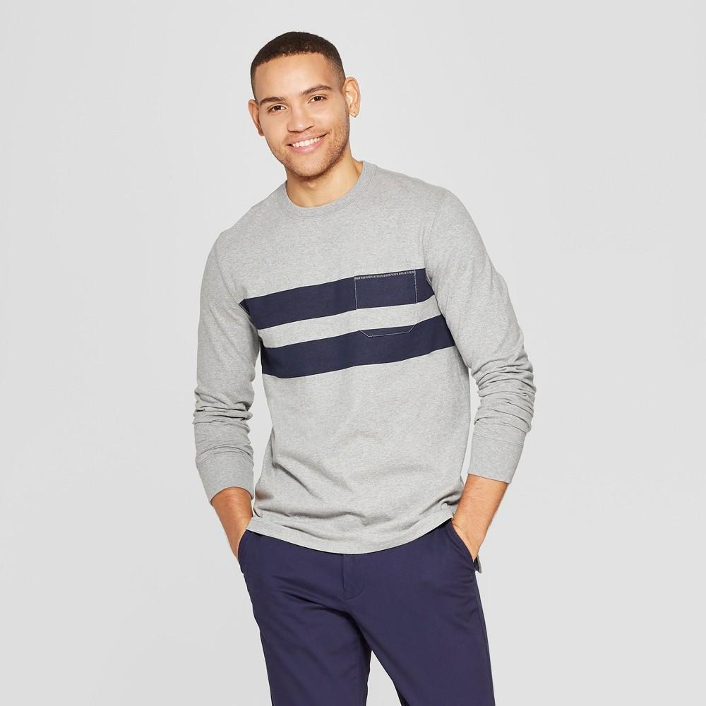 Men's Standard Fit Long Sleeve Garment Dye Pocket T-Shirt - Goodfellow & Co Gray XL
