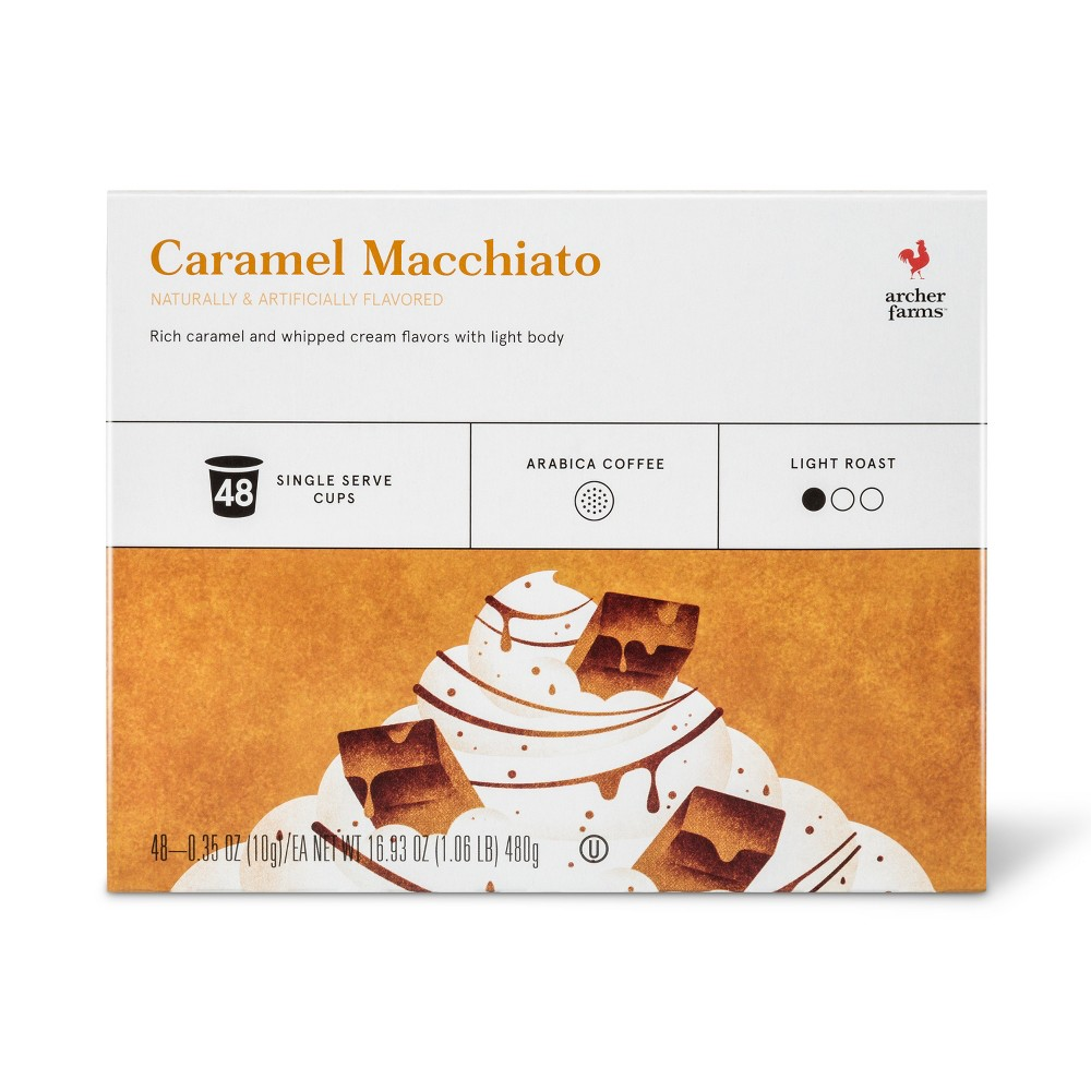 Caramel Macchiato Light Roast Coffee - Single Serve Pods - 48ct - Archer Farms