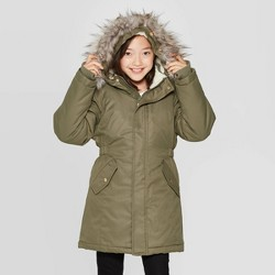 Girls' Faux Fur Hooded Parka Jacket - Cat & Jack™ Green