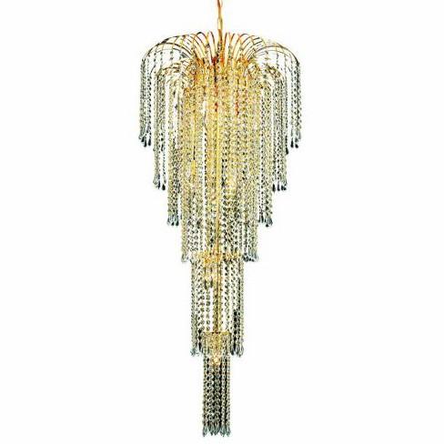 Elegant Lighting 6801G21G Falls 9-Light, Five-Tier Crystal Chandelier, Finished in Gold - image 1 of 1
