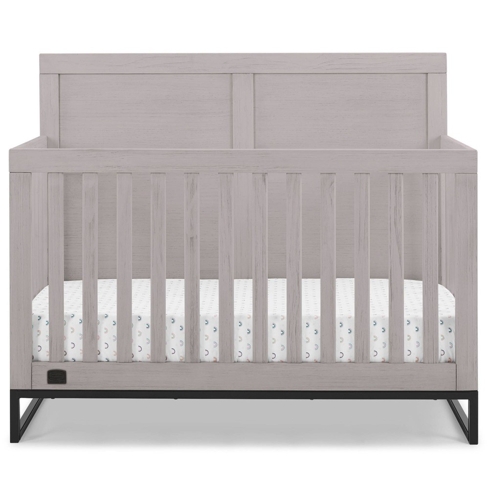 Simmons Kids 39 Foundry 6 In 1 Convertible Baby Crib Rustic Mist With Matte Black