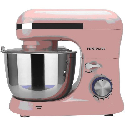 Frigidaire ESTM020-PINK 8 Speed Standing Electric Kitchen Mixer with 4.5 Liter Stainless Steel Mixing Bowl, Dough Hooks, and Mixer Beaters, Pink