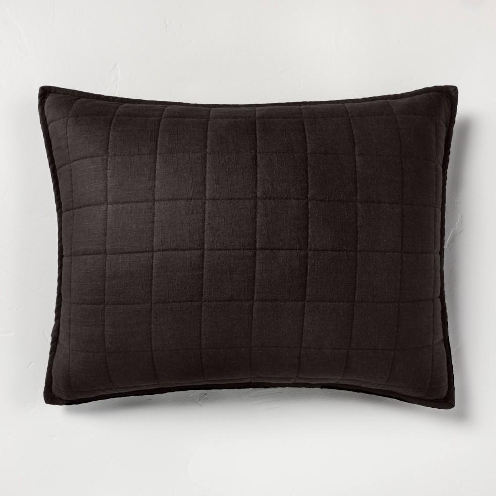 Standard Heavyweight Linen Blend Quilted Pillow Sham Washed Black - Casaluna