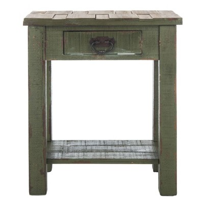 Alfred End Table with Storage Drawer - Antique Green - Safavieh