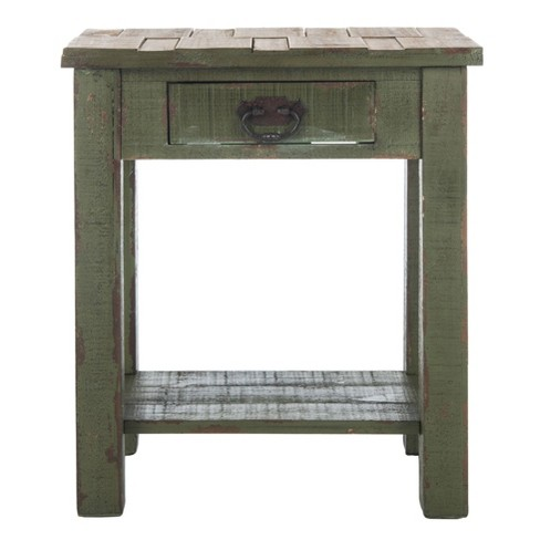 Alfred End Table With Storage Drawer - Antique Green - Safavieh - image 1 of 4