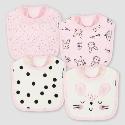 Gerber Baby Girls' 4pk Bunny Bib - Pink