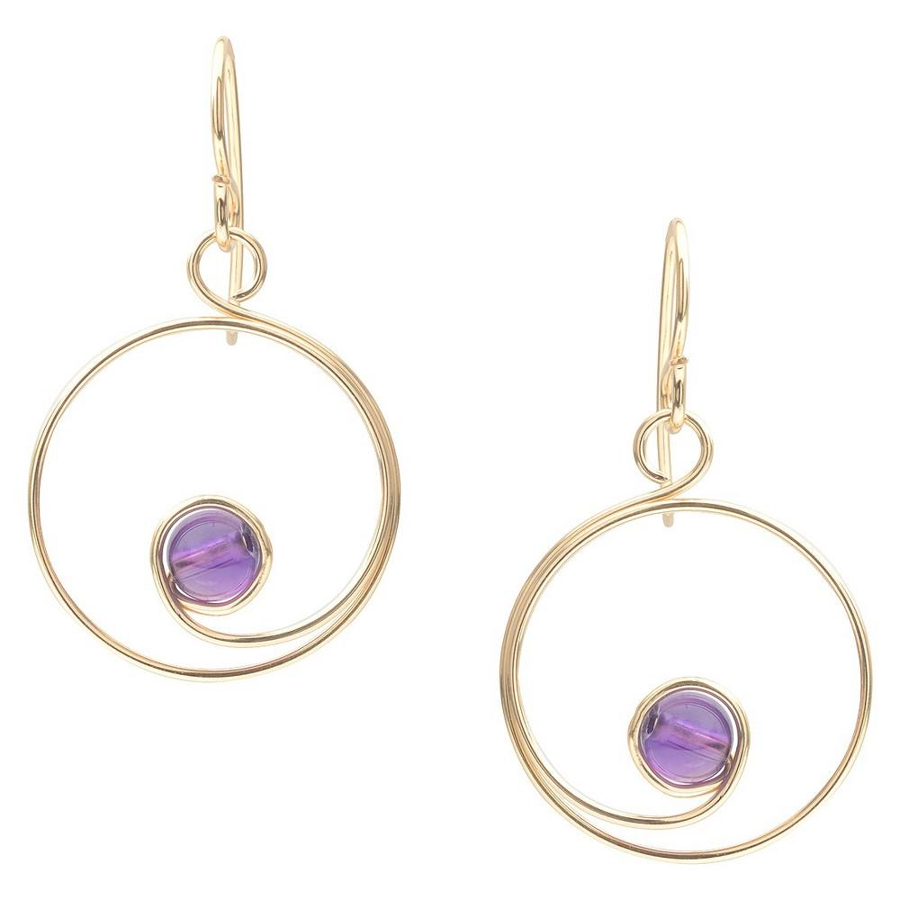 Women's Tressa Collection Sterling Silver Spiral Bead Earrings Handmade - Gold