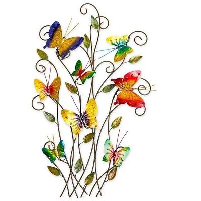 Wind & Weather 3-Dimensional Indoor/Outdoor Metal Butterflies Wall Art