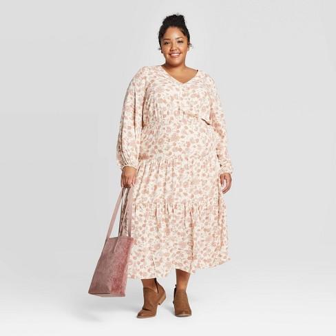 Women\'s Plus Size Floral Print Long Sleeve V-Neck Midi Dress - Universal  Thread™ Cream