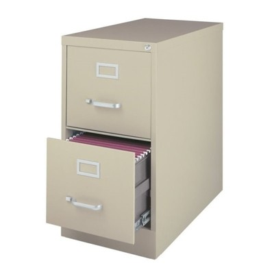 Steel 25 in Deep 2 Drawer Vertical Letter File Cabinet in Putty Brown-Hirsh Industries
