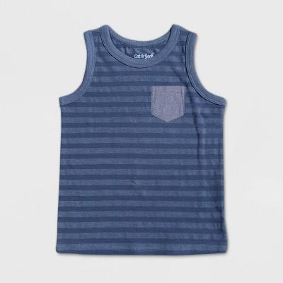 Toddler Boys' Striped Tank Top - Cat & Jack™ Blue 2T