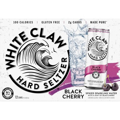 White Claw Black Cherry Hard Seltzer - 12pk/12 fl oz Slim Cans