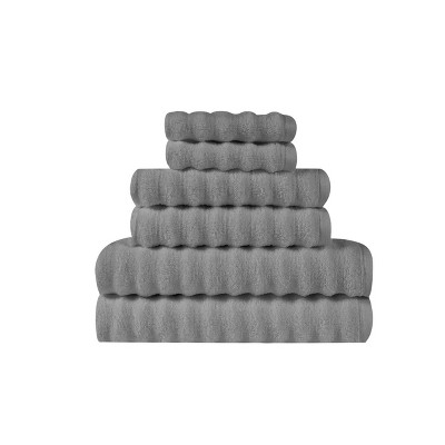 6pc Zero Twist Bath Towel Set Gray - Truly Soft