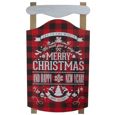 """Northlight 24"""" Red and Black Buffalo Plaid Merry Christmas Sled Wooden Hanging Wall Sign"""