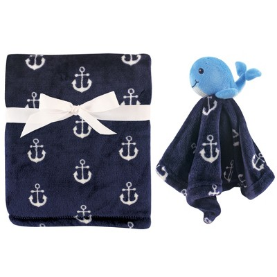 Hudson Baby Infant Boy Plush Blanket with Security Blanket, Whale, One Size