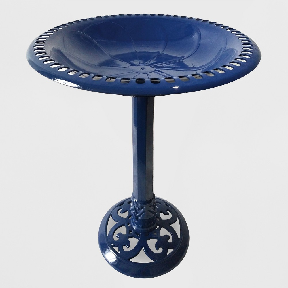 "Image of ""24""""H Resin Bird Bath Blue - Backyard Expressions"""