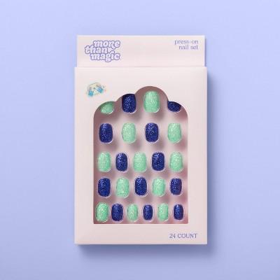 Press-on Nail Glitter Set - 24ct - More Than Magic™ Green/Dark Blue
