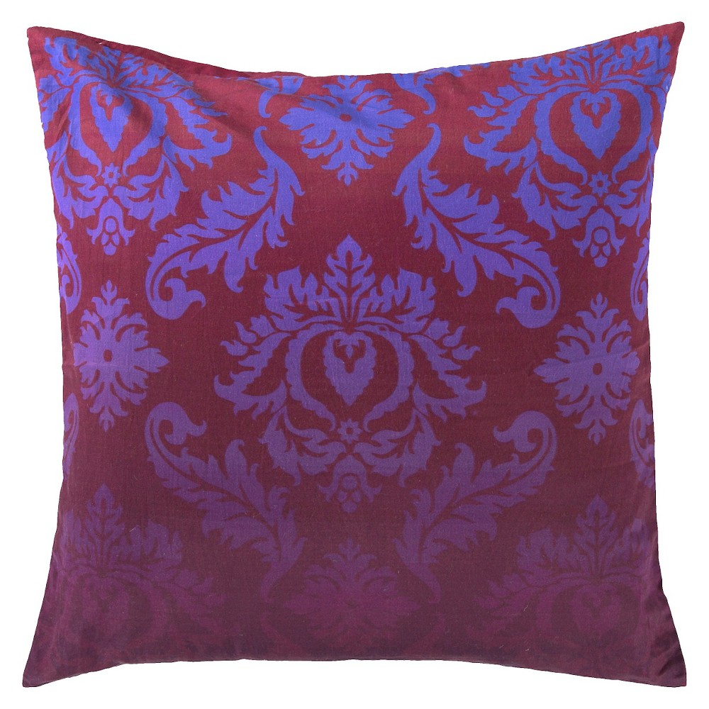 Eggplant Damask Luxe Throw Pillow 18