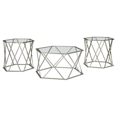 3pc Madanere Coffee and End Table Set Chrome Finish - Signature Design by Ashley