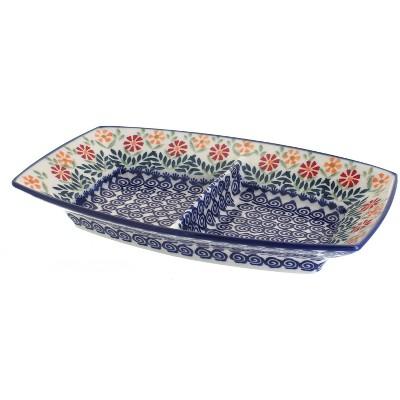 Blue Rose Polish Pottery Garden Bouquet Divided Dish