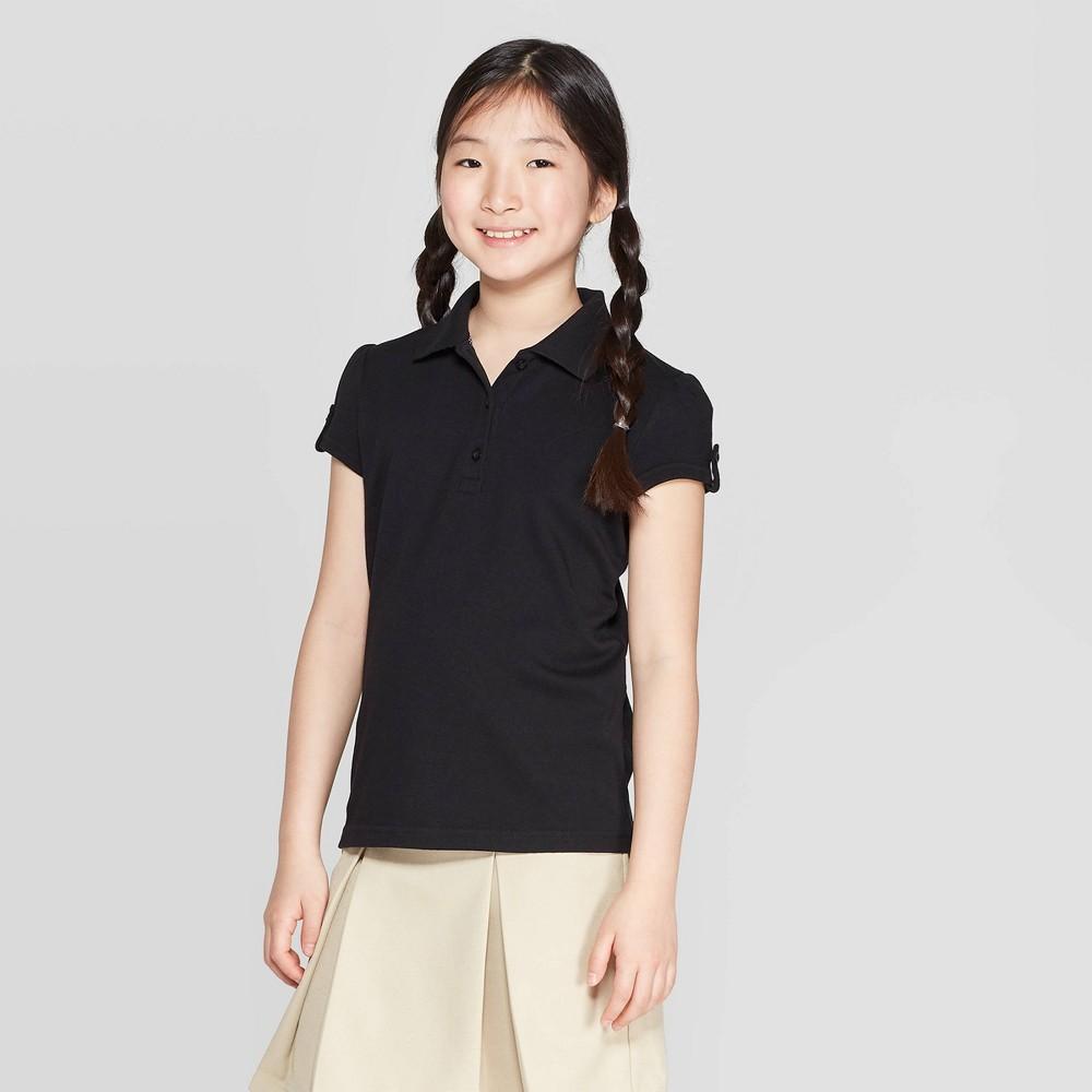 e2b3b0cc9 Girls Short Sleeve Interlock Uniform Polo Shirt Cat Jack Black S