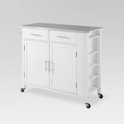 Full Savannah Stainless Steel Top Kitchen Island Cart - Crosley