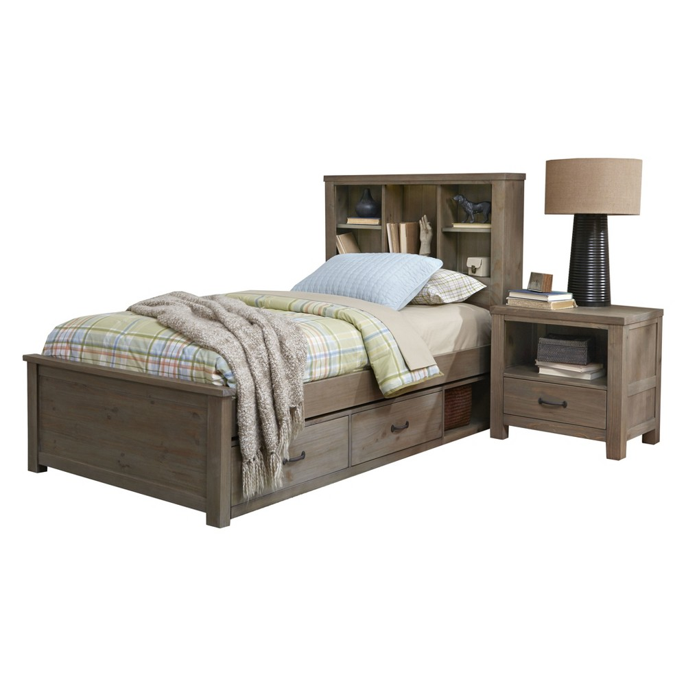 Twin Highlands Bookcase Bed with Storage Driftwood - Hillsdale Furniture, Brown