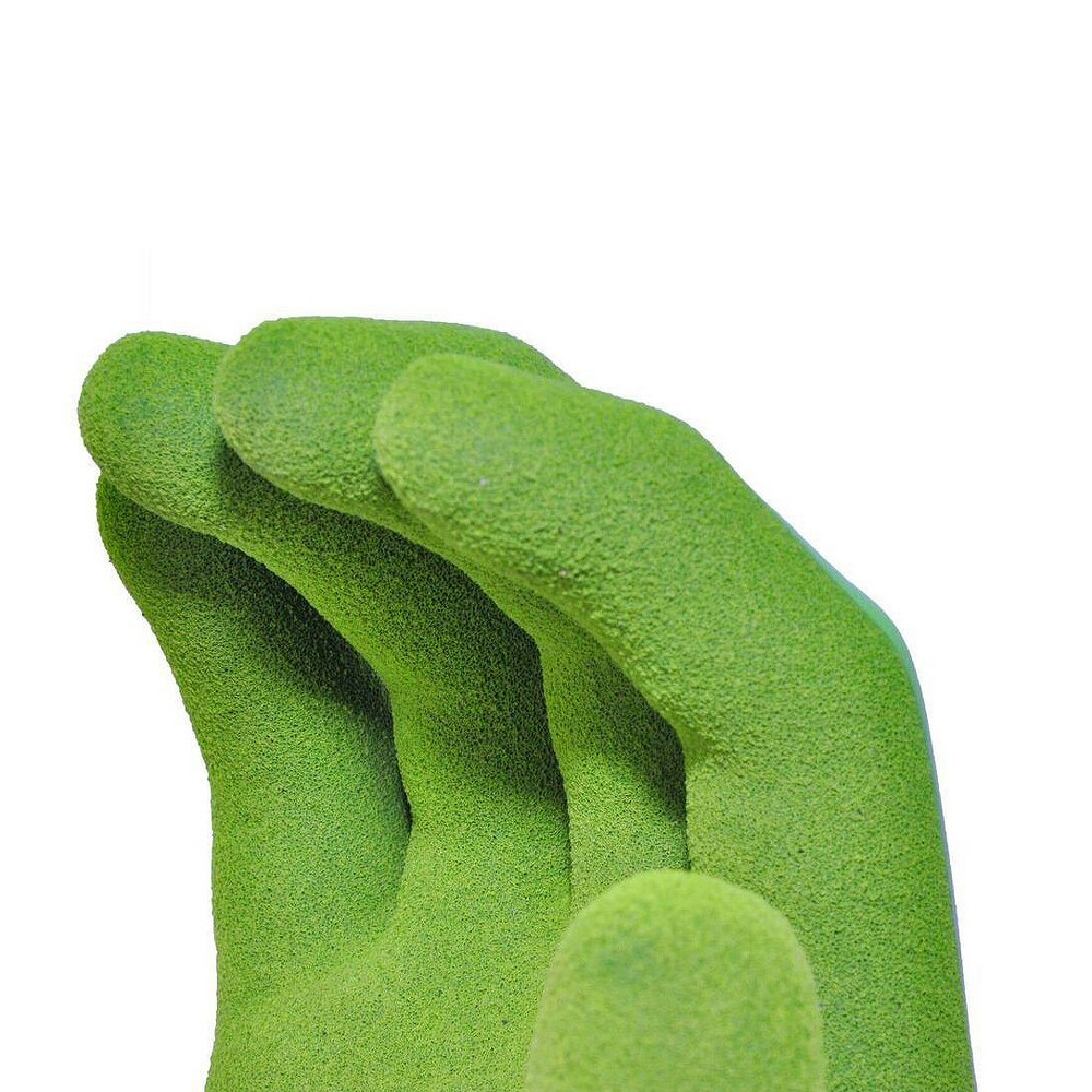 Women's Waterproof Seamless Knit Garden Gloves with Double Microfoam Nitrile Coating - Large - Green - G & F