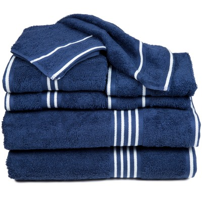 8pc Striped Bath Towel Set Navy - Yorkshire Home