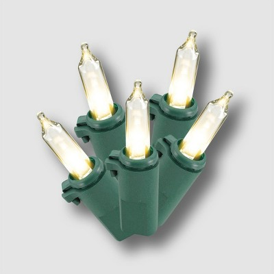 Philips 60ct Christmas LED Smooth Mini String Lights Warm White with Green Wire
