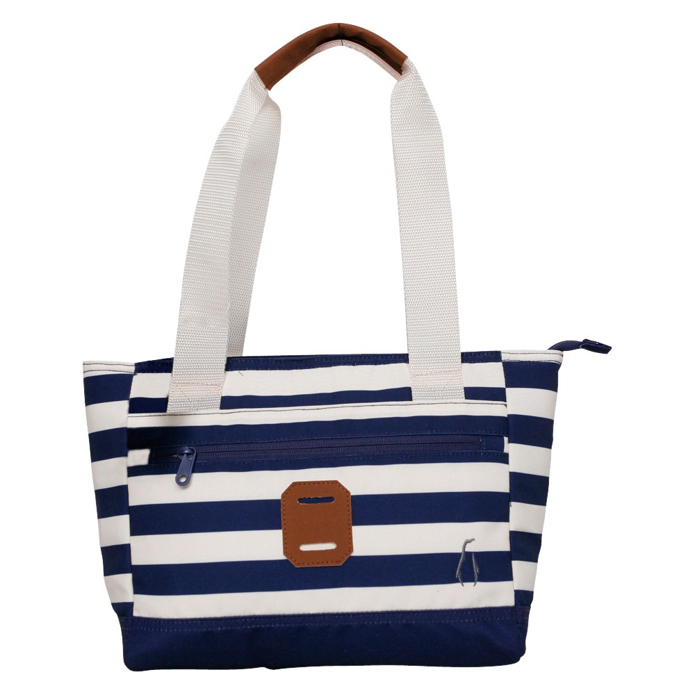 Penguin Lunch Tote - Navy (Blue) Stripe