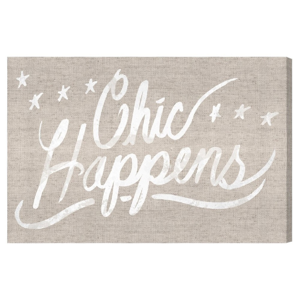 "Image of ""Oliver Gal Unframed Wall """"Chic Happens Burlap"""" Canvas Art (24x16), Brown"""
